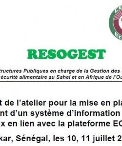 Rapport de l'atelier pour la mise en place et le fonctionnement d'un système d'information sur les stocks nationaux en lien avec la plateforme ECOAGRIS Dakar, Sénégal, les 10, 11 juillet 2019