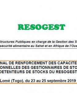 Rapport de l'atelier régional de renforcement des capacités techniques et organisationnelles des gestionnaires de stocks des pays détenteurs de stocks du RESOGEST du 23 au 25 septembre 2019 Lomé (Togo)