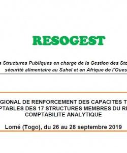 Rapport de l'atelier régional de renforcement des capacités techniques des comptables des 17 structures membres du réseau en comptabilité analytique du 26 au 28 septembre 2019, Lomé (Togo)