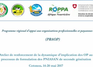 Atelier de renforcement de la dynamique d'implication des OP au processus de formulation des PNIASAN de seconde génération Cotonou